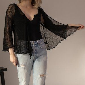 Vintage 90s loose knit sheer black cardigan